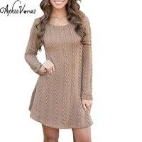 Women Casual Winter Autumn Dress Lady Long Sleeve Crewneck Jumper Thin Casual Knitted Sweater Mini Dress