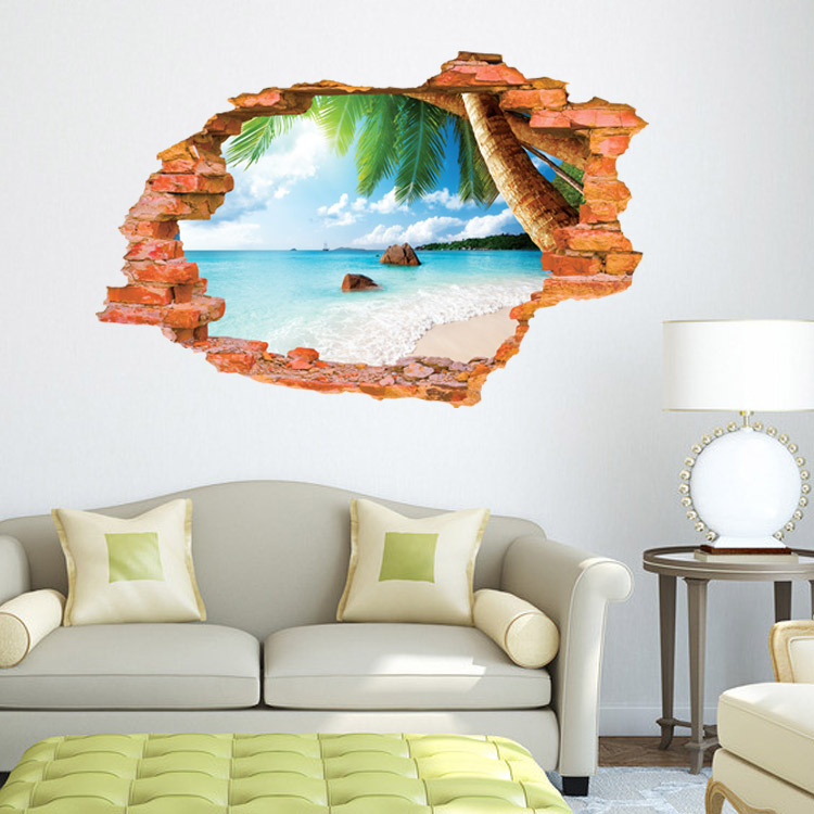 beach 3D sticker Wall Sticker 60*90CM Paster Art  Livingroom Bedroom background stickers Home Decor