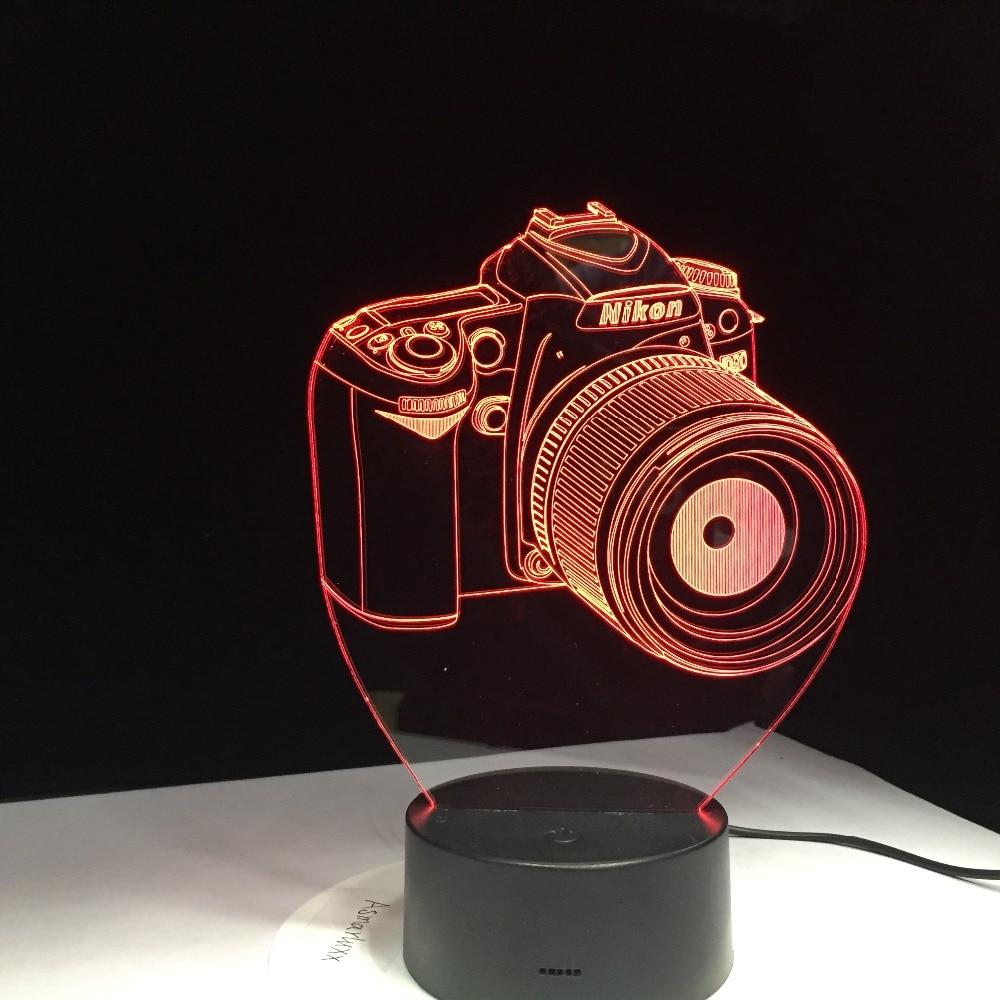 Novelty Gifts 3D Acrylic Entertainment camera illusion LED Lamp USB Table Light RGB Night Light Romantic Bedside Decoration lamp lnhf novelty diy led table lamp home romantic pour coffee usb battery night light