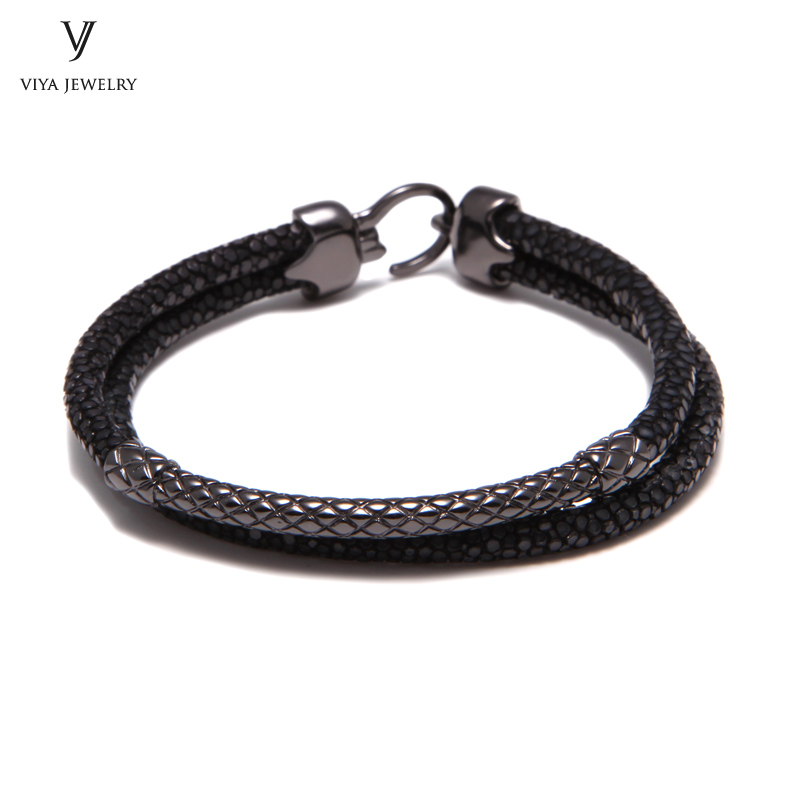 Cool Black Stingray Leather Bracelets For Men Charming Sterling Silver Bracelet With Stingray Cords Best Gift For Stylish Man цены