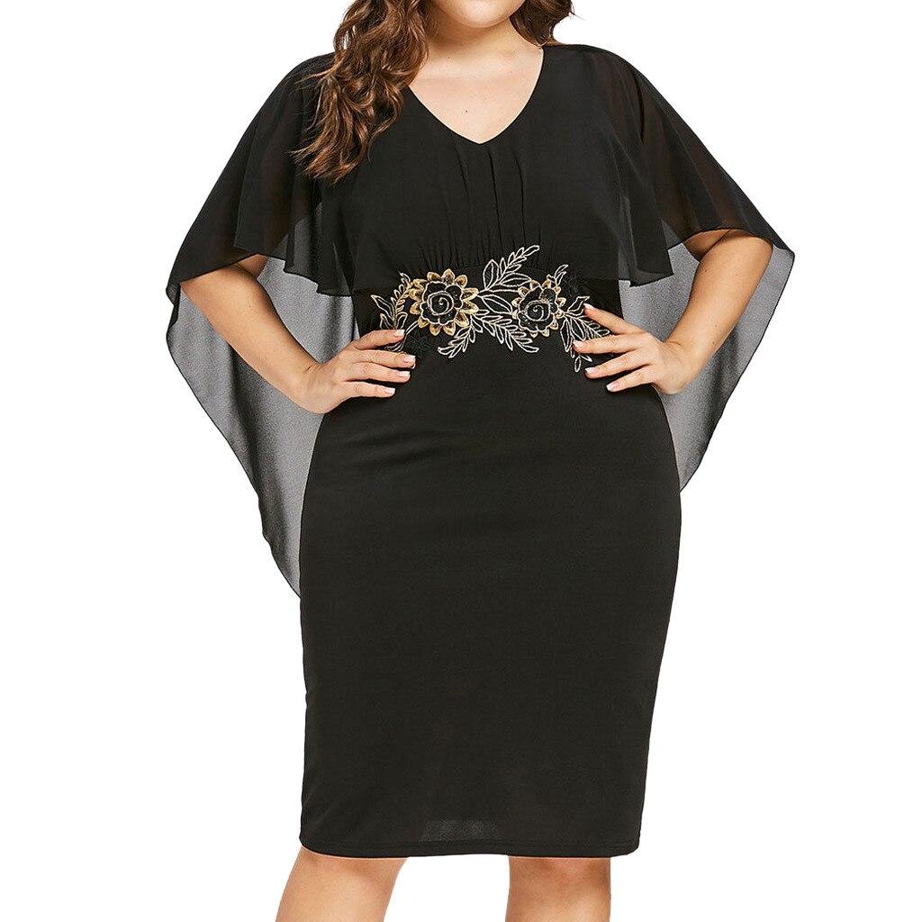Fashion 2019 Women Casual Chiffon Plus Size Solid V Neck Applique Loose Dress Ladies Summer Elegant Party Night Sundress z0506