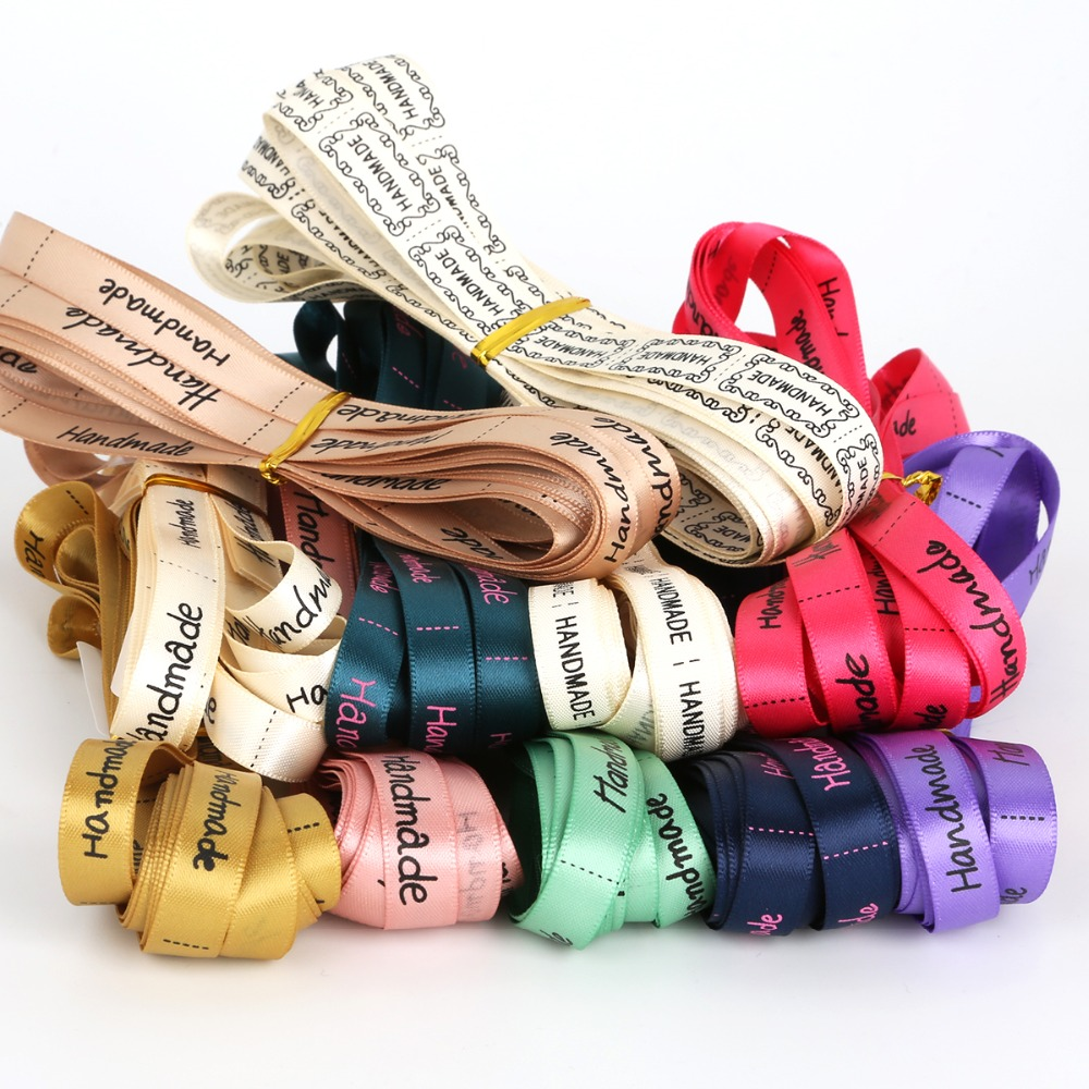 """Hand made"" Design Printed Satin Ribbon DIY Sewing & Packing Jewelry Accessories 10mm width 5Yards/lot"