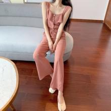 Summer new Camisole Chiffon Jumpsuit Women Solid Casual Vest Drastring Wide Leg Pants Camis Overall Elegant Blue Playsuit