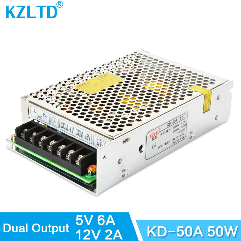 Dual Output Power Supply 5V 12V 50W 110V / 220V Input Voltage Transformer AC DC Power Supply Adjustable 3-Year Warranty high voltage flyback transformer for co2 50w laser power supply