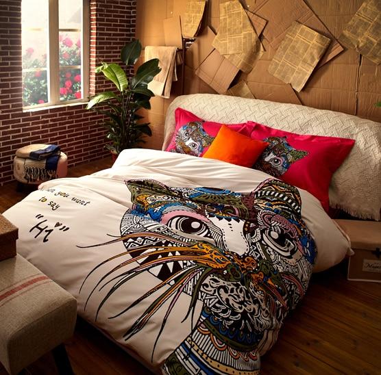 2015 New Modern Cat Luxury Long staple cotton Korean white bedding