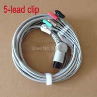 G oldway M Indray MEC1000 MEC2000 PM7000 PM8000 PM9000 6 pinsสายecgชิ้นเดียว5สายนำคลื่นไฟฟ้าหัวใจคลิปบนขั้ว