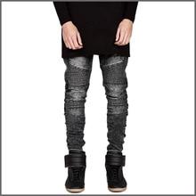 Плиссированные лоскутная локомотив джинсы мода байкер джинсы мужчины хлопок street style тощие мужчин джинсы мото джинсы мужчин(China (Mainland))