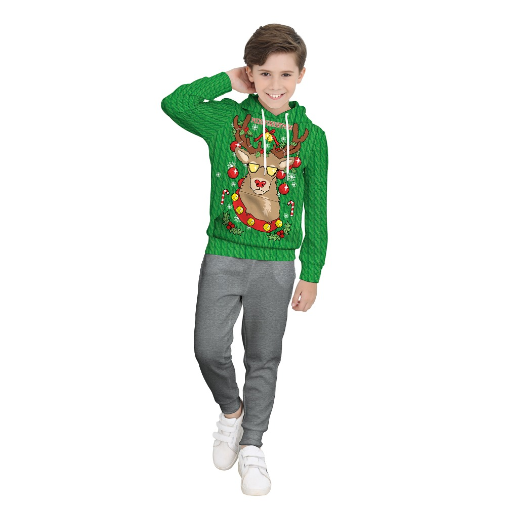 santa claus costume New Year Christmas Costume for boy reindeer 3D printing green hoodies sweatshirts Fancy Cosplay