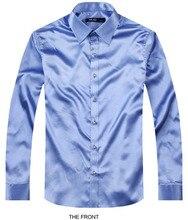 2017 Light blue Luxury the groom shirt male long sleeve wedding shirt men's party Artificial silk dress shirt M-3XL 21 colors FZ