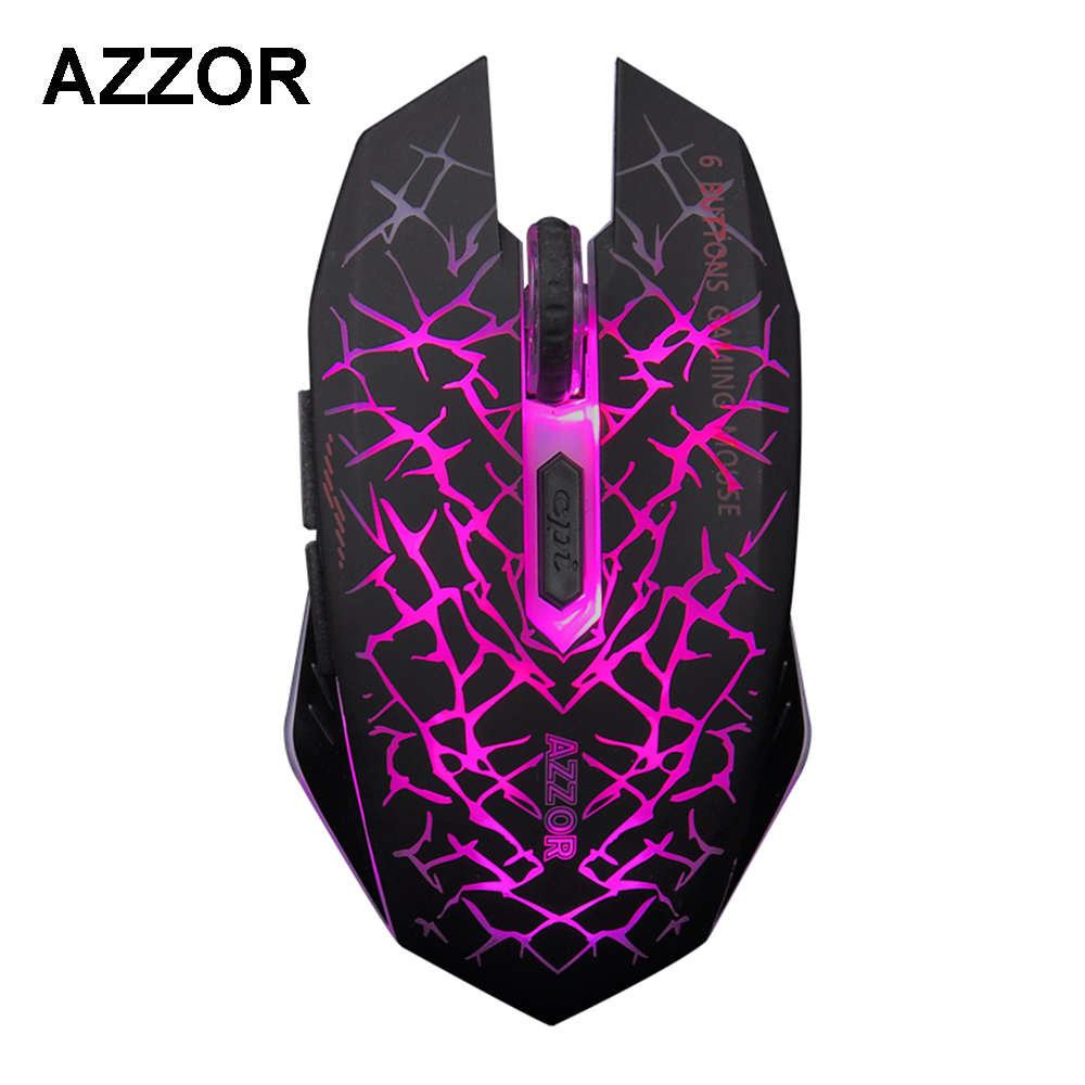 AZZOR M6 Rechargeable Wireless Optical Gaming 2.4GHz Mute Silent Click Mouse 2400DPI Professional Game Mice for Tablet Laptop ...