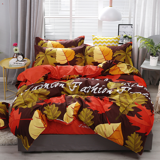 New Maple Leaf Printing High Quality Bedding Set Bed Linings Duvet Cover Bed Sheet Pillowcases Cover Set