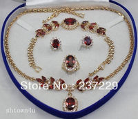 Wholesale price FREE SHIPPING ^^^^Bridal Fashion Jewellery Women's Set red Zirconia Necklace Earring Ring Bracelet