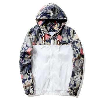 Floral Jacket 2019 Autumn Mens Hooded Jackets Slim Fit Long Sleeve Homme Trendy Windbreaker Coat Brand Clothing Drop Shipping - DISCOUNT ITEM  55% OFF All Category