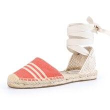 Tienda Soludos sandales dété pour femmes, Espadrilles, semelle en caoutchouc, forme plate, ceinture croisée 2019 décontracté, à la mode vichy avec lété à lacets