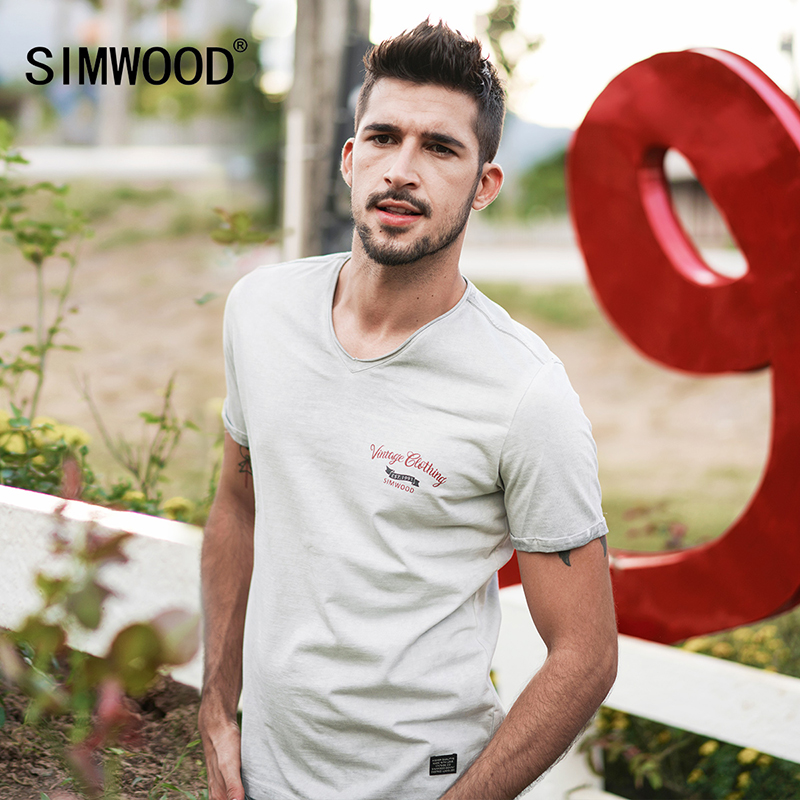 SIMWOOD 2019 Summer New  Vintage T shirt Men V-Neck Pure Cotton Plus Size High Quality Tees Slim Fit Fashion Tops TD017116