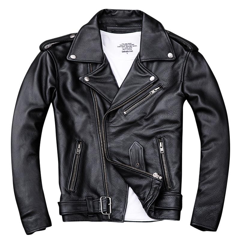 Jacket Biker's Harley Damson Motorcycle-Coat Cowhide XXXXL Genuine Short Thick Black