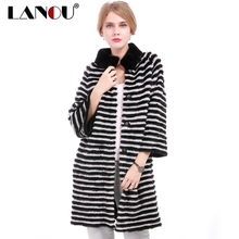 LANOU Women's Fur Coat 100% Natural Mink Fur & Rex Rabbit Fur Coat for Women 90cm Female Jacket Natural Mink Fur Overcoat