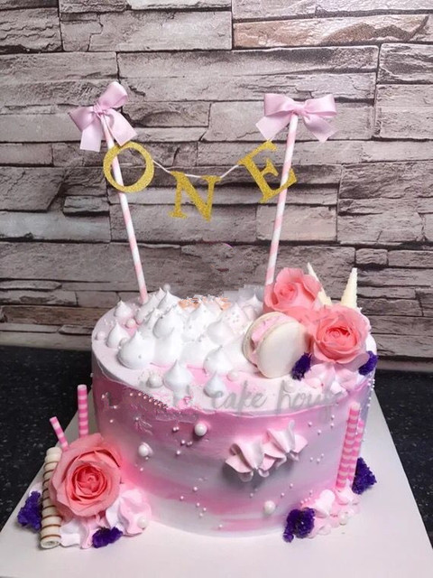 Handmade Hot ONE Baby Shower Cake Bunting Gold Pink Theme Birthday Topper Bows 1st 2nd Party Smash Banner Decor