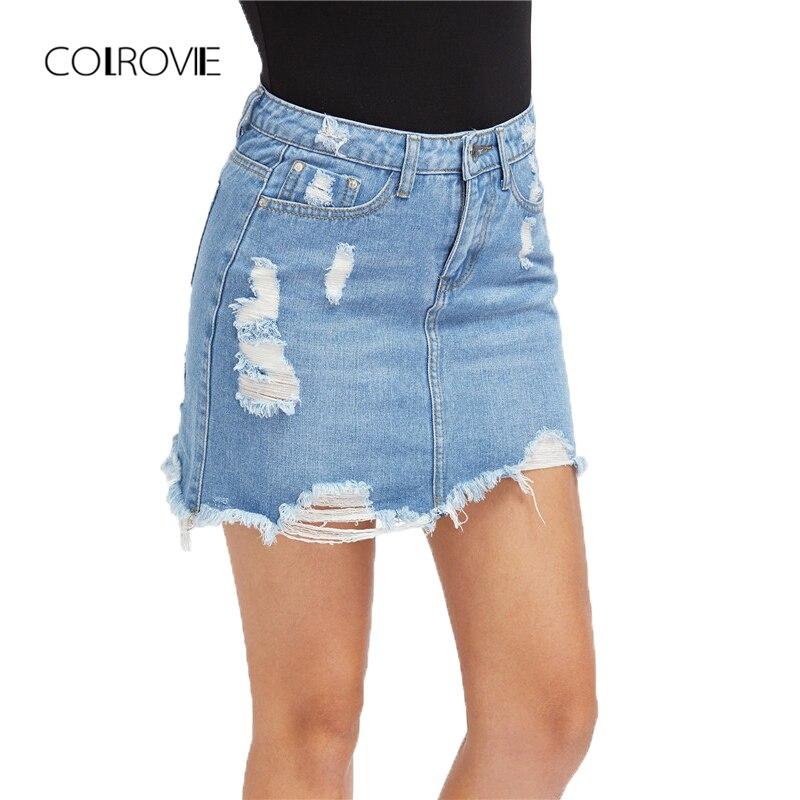 COLROVI Casual High Wasit Denim Skirt Blue Light Wash Women Distressed Mini Pencil Skirts 2017 Sexy Ripped 5 Pocket Summer Skirt Юбка
