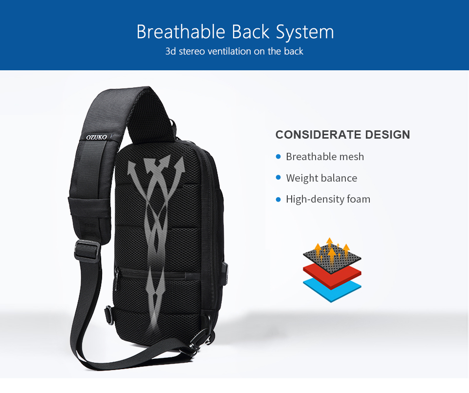OZUKO 2019 New Multifunction Crossbody Bag for Men Anti-theft Shoulder Messenger Bags Male Waterproof Short Trip Chest Bag Pack 10