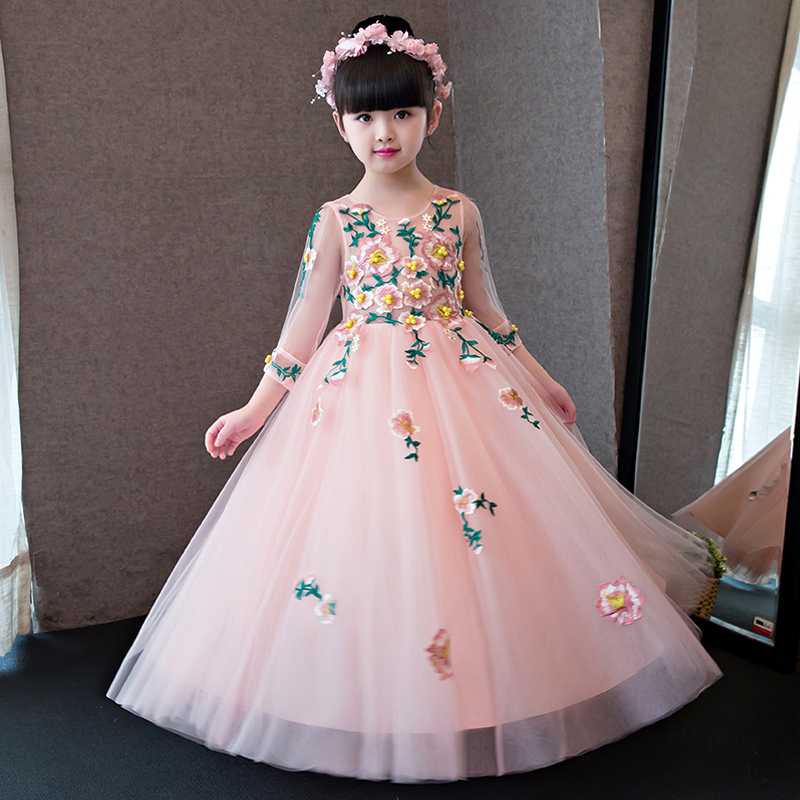 Emboridery Flower Girl Dresses Wedding Ball Gown O-neck Long Kids Dress Evening Floral Tutu Princess Dress for Birthday QX296 sequined appliques flower girl dresses wedding ball gown v neck long kids dress evening floral tutu princess dress for birthday