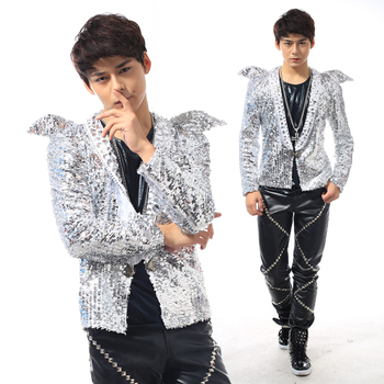 NEW ! Nightclub men's singer star stage costumes sequins jacket men's shrug suits coat Korean fashion suit singer clothing