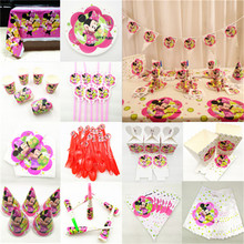 Minnie Mouse Party Decoration Supplies Kids Birthday Favors Tablecloth Cup Plate Napkin Cap Candy Popcorn Box Pink Red Gold