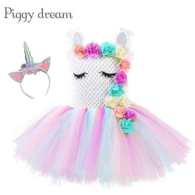 48fcd3d52b84 2019 Girl Unicorn Dresses for Girls Tutu Princess Party Dresses Flower  Birthday Cosplay Halloween Costume Girls