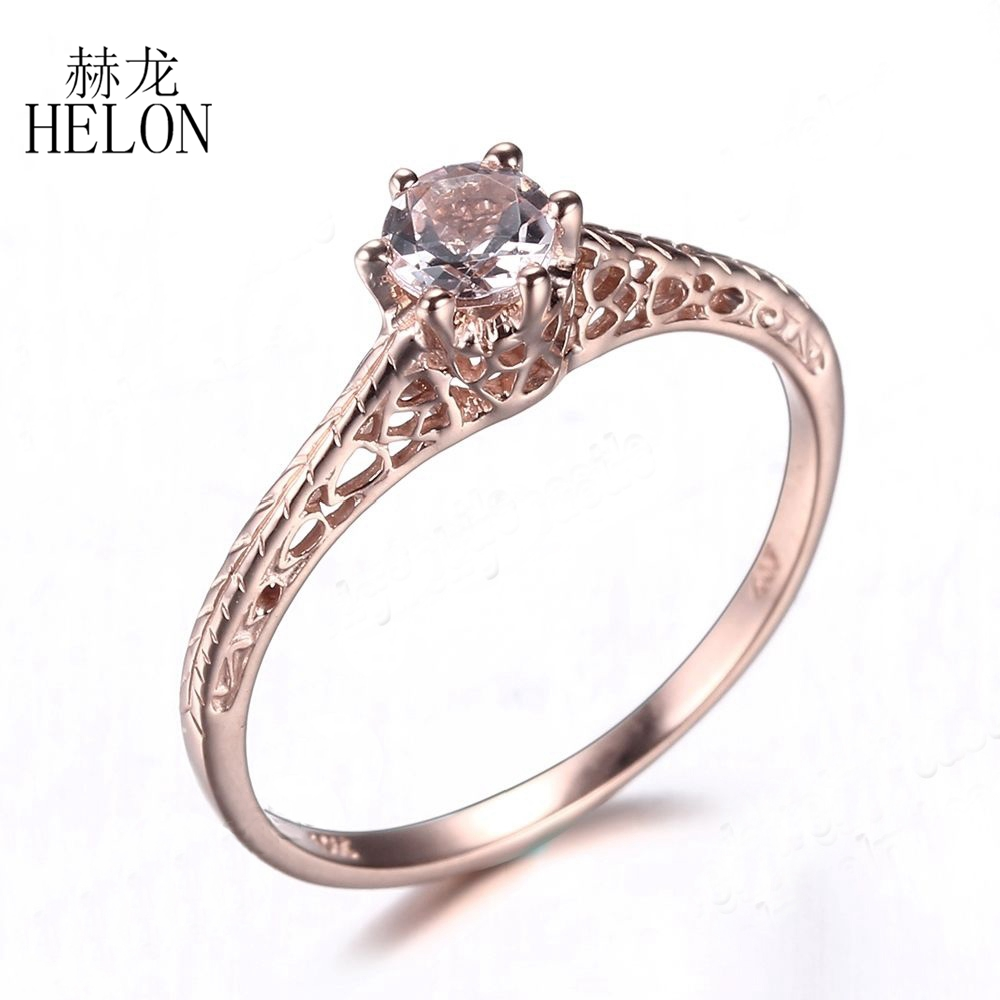 HELON Solid 14k (AU585) Rose Gold Flawless Round 4.5mm 0.3ct Natural Morganite Ring Women Wedding Art Deco Antique Jewelry Gift