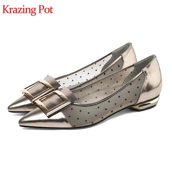 genuine leather dot patterns air mesh pointed toe metal buckle low heels vacation office lady mixed color Autumn sexy pumps L28
