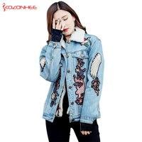 Cashmere oversized Boyfriend Denim winter jacket women Windbreaker Denim Jacket For Girls Women Jeans Jackets And Coats #9093