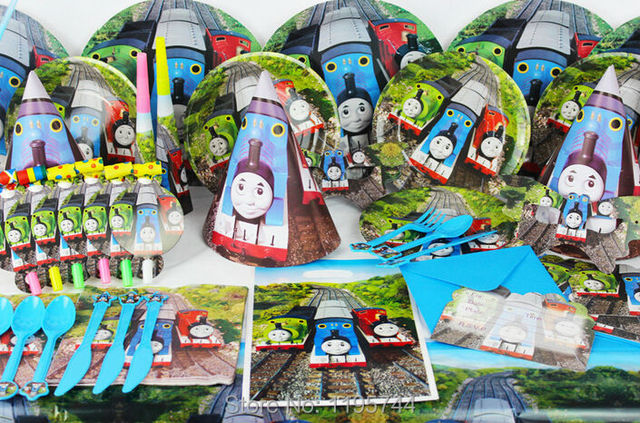 Free shipping 76pcs Thomas theme birthday party decorations kids 6 person party supplies tableware set & Free shipping 76pcs Thomas theme birthday party decorations kids 6 ...