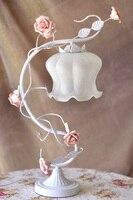White Green Iron pink rose flower glass table lamp light lighting Vintage wedding bedroom gift E27 ZL366 xy2
