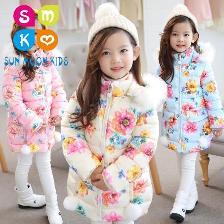 2018 Winter Baby Girls Jackets Fashion Print Hooded Kids Clothing Children Thick Outerwear Warm Coat Parkas