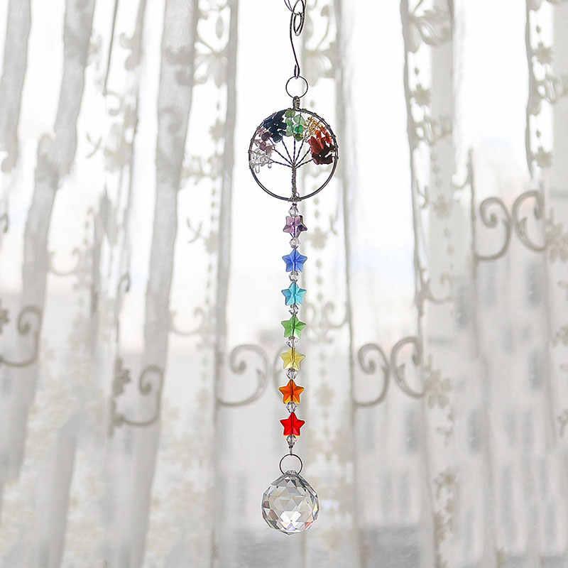 H & D l'arbre de la vie cristal prisme boule Suncatcher arc-en-ciel fabricant lustre décor Chakra fenêtre jardin suspendus pendentif ornement