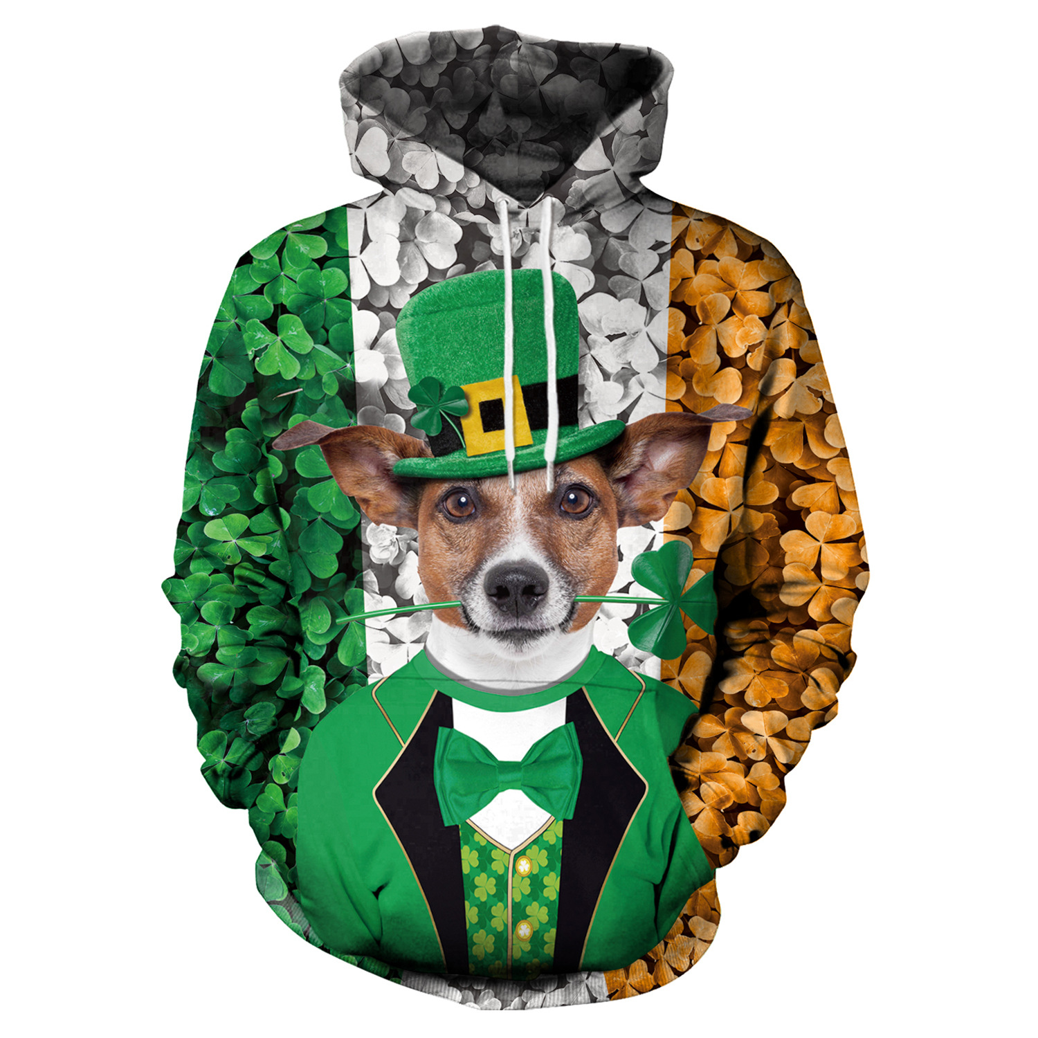 St Patrick's Day Green Hat Dog Shamrocks Striped  Hoodies Men Hoodie with Hat Round Neck Loose Sweatshirt Pullover Streetwear