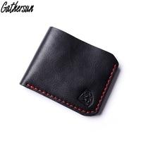 Gathersun Leather Wallet Men Handmade Short Bifold Leather Purse Men First Layer Genuine Leather Black Wallets for Men