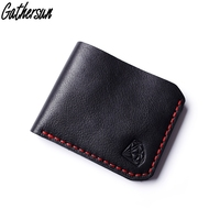 Gathersun Leather Wallet Men Handmade Short Bifold Leather Purse Men First Layer Genuine Leather Black Wallets for Men