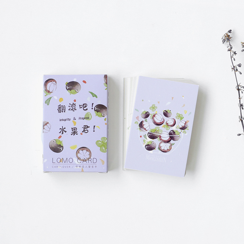 28 Sheets/Set Creative Roll Over Mr Fruit Mini Greeting Card Postcard/Wish Card/Christmas And New Year Gifts