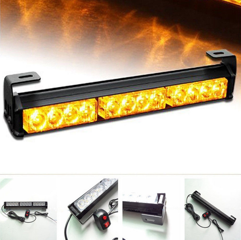 12 LED Car Emergency Beacon Flash Light Bar Hazard Strobe Warning Amber Yellow Flashing Lamp vehicle roof top emergency hazard warning strobe light lamp 240 led amber