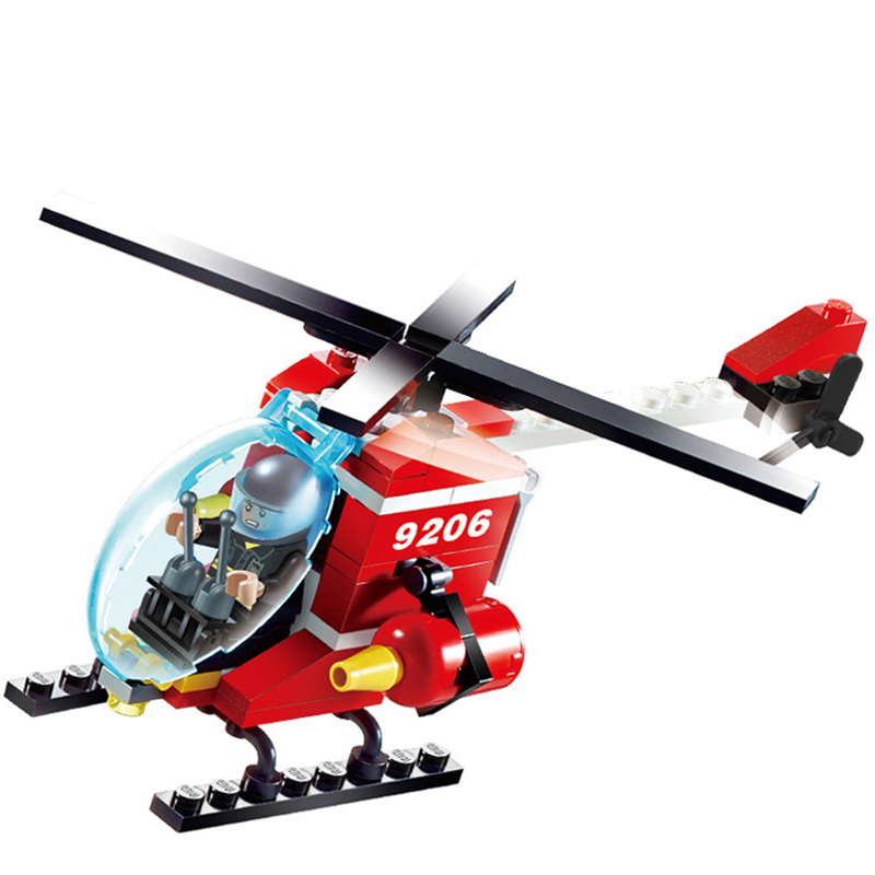 91pcs Fire Helicopter Blocks Bricks Building Block Sets Models legoing Educational Toys For Children