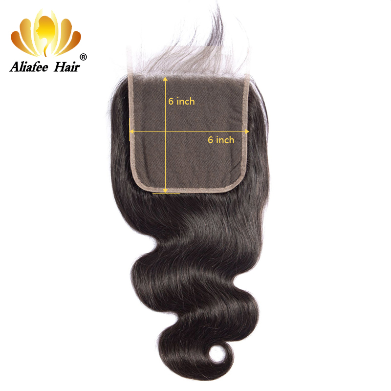 Ali Afee Brazilian Body Wave 6X6 Lace Closure Human Hair Lace Closure Free Middle Three Part