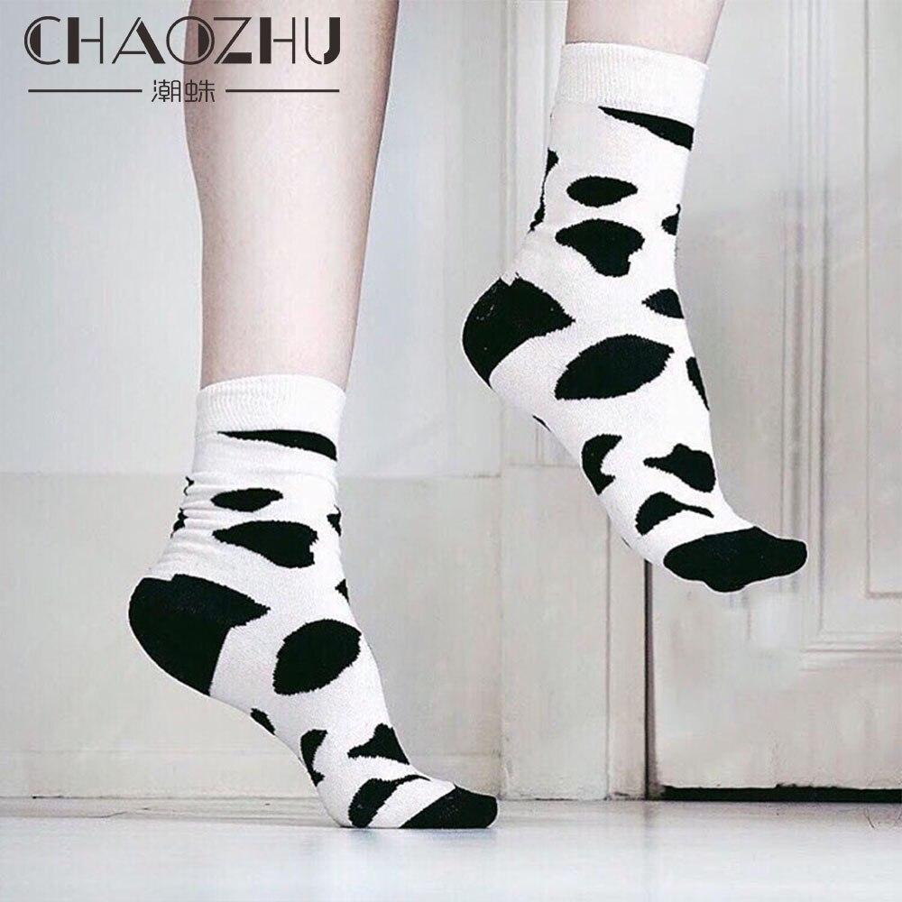 CHAOZHU New Arrival White Black Spot Jacquard Dalmatians Pattern Unisex Men Women Fashion Happy Socks Ankle Length Cotton Socks
