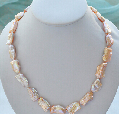 FREE SHIPPING>>>@ NO1825 20mm NATURE pink DENS keshi REBORN pearl necklace new