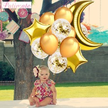 PATIMATE Star Moon Gold Pink Sliver Foil Balloon air for Childrens Birthday Wedding Helium Balloons Decor