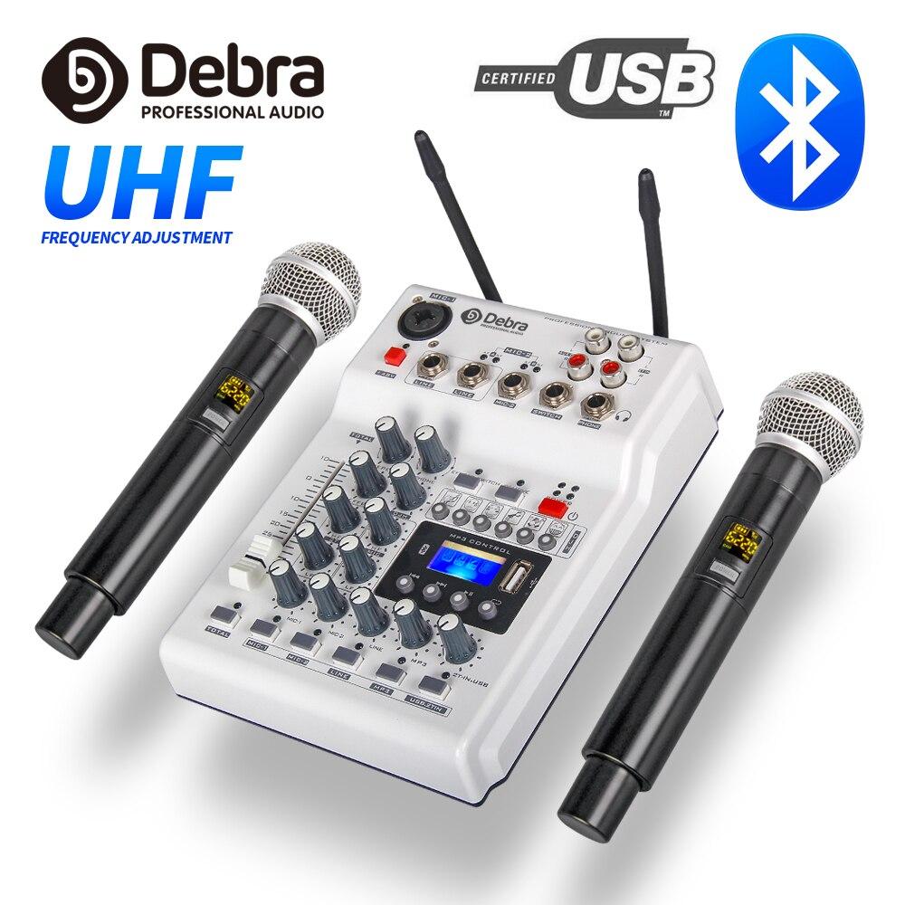 Debra Audio DJ Console Mixer Soundcard With 2channel UHF Wireless Microphone For Home Studio Recording DJ Network Live Karaoke