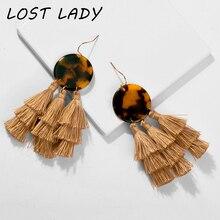 Lost Lady 2019 Ethnic Bohemia Women Dangle Drop Earrings Summer Round Acrylic Tassel Earring For Fashion Jewelry oorbellen