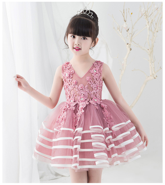 Flower Girl Dress Pink Appliques Tulle Kid Evening Dress Wedding Gown Teen  Girl Ceremonies Party Dress First Communion Dresses c4b1fa15005e