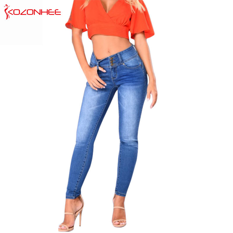 Large Size Elastic High Waist Pencil Jeans With Women Stretching Jeans Skinny Trousers For Women Big Size