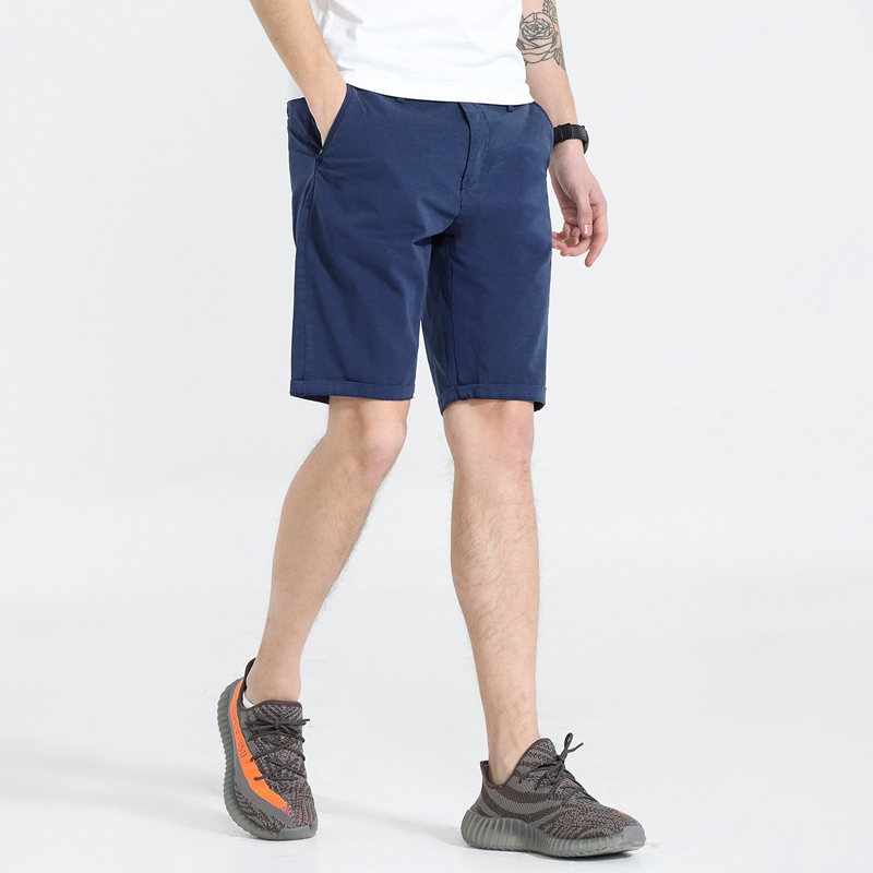 2018 Summer New Mens Cotton Fabric Shorts Casual Solid Male Quality Short Pants Slim Fit Men Clothes 6 Colors Available